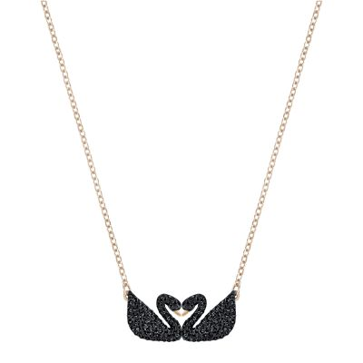 ICONIC SWAN:NECKLACE DOUBLE JET/ROS