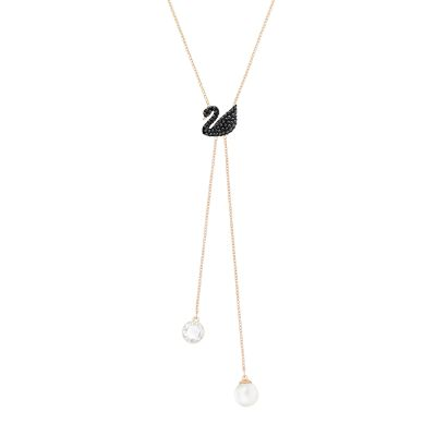 ICONIC SWAN:NECKLACE DOUBLE Y JET/ROS