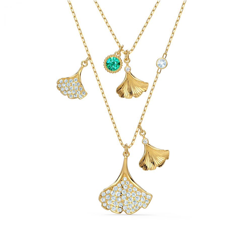 STUNNING:NECKLACE GINKO LAYERED ENIT/CRY